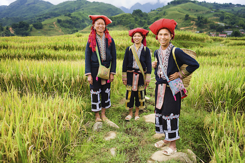 Women of the Red Dao ethnic group in their traditional clothing. Photo©iStock