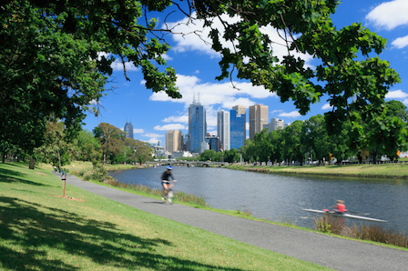 The city is built on the banks of the Yarra River. © Getty Images