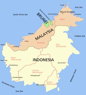 The island of Borneo, a continental island, is shared by two nations: Malaysia and Indonesia