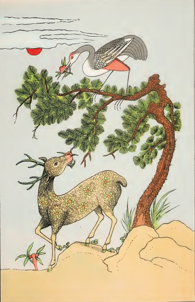An old Chinese print shows a red-crested crane on a pine tree (From Wikimedia Commons, the free media repository)