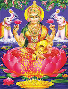 The goddess Lakshmi is the goddess of wealth. You can see gold coins pouring from one of her right hands into a pile of coins in front of her.©iStock
