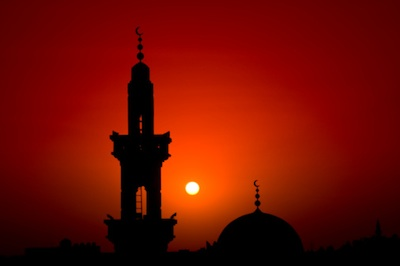 A mosque. The tall tower is called a minaret. Can you see the crescent moon on top of the minaret and the dome? Image ©Getty
