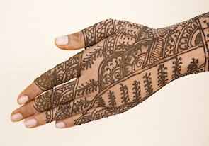 Henna designs on a bride's hand