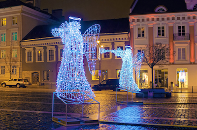 Christmas Angel decorations in a street in Germany. ©iStock