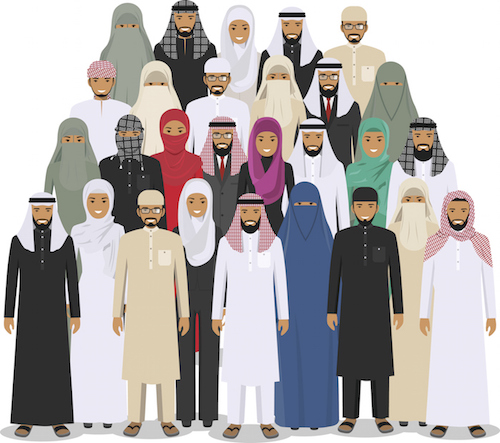 Some of the styles of traditional clothing worn by many Muslims. ©iStock