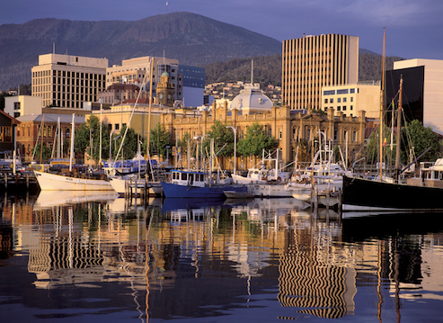 Constitution Dock where boats in the Sydney to Hobart race dock. Mt Wellington is in the background. © iStock