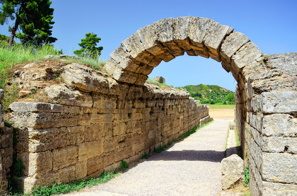 The entrance to the stadium in ancient Olympia.