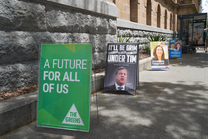 Candidates' posters outside a polling place in Queensland on election day. ©Getty