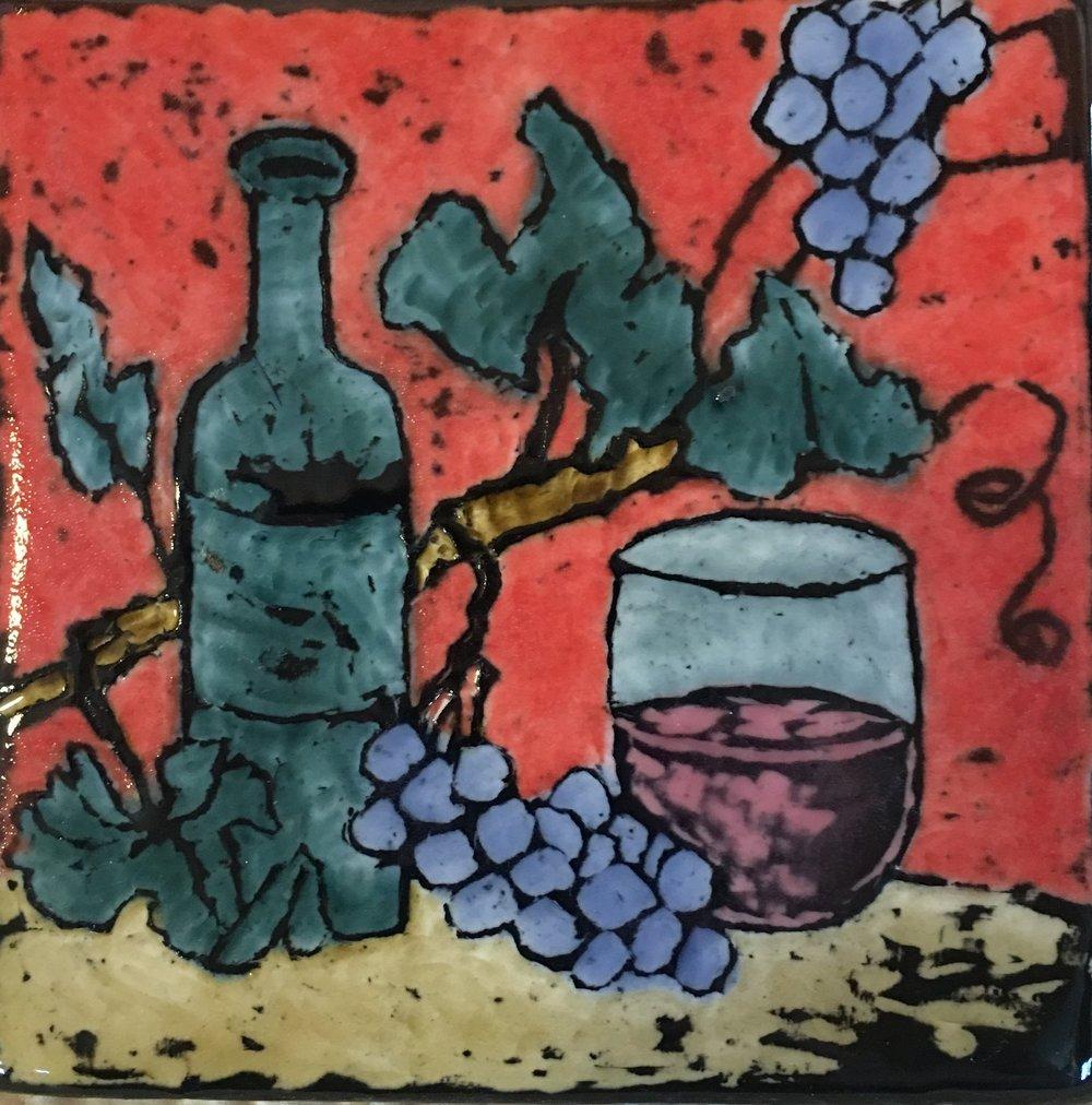 """6x6"""" Decorative Ceramic Tile Painting in Sgraffito Technique  $35"""