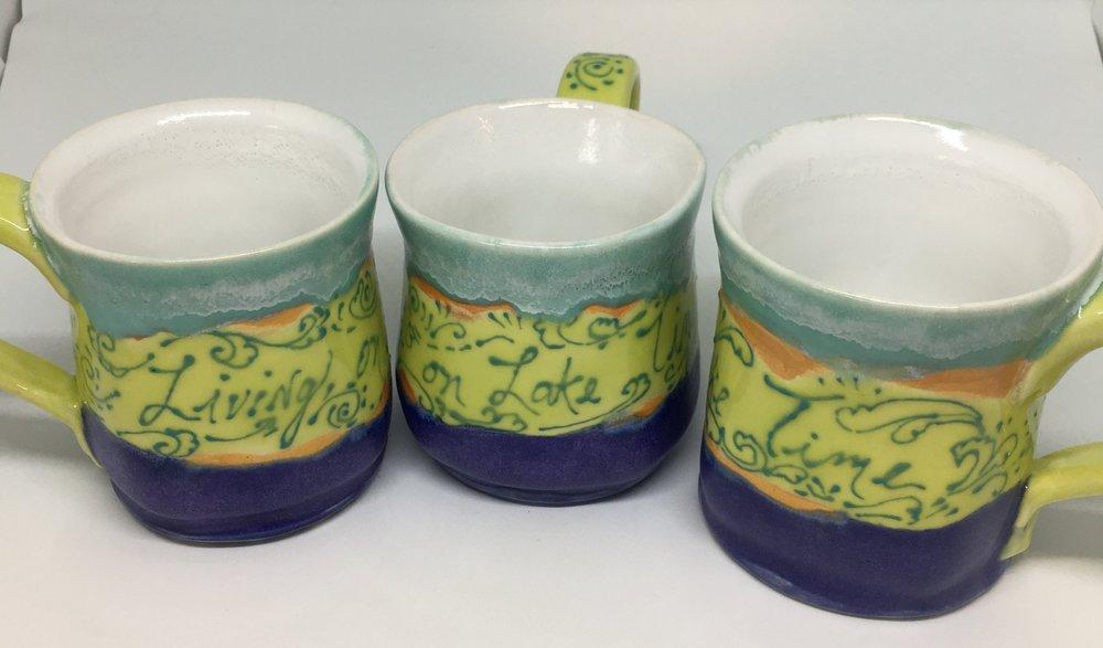 """Mugs: """"Living on Lake Time"""" $35 ea"""