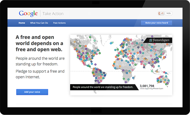The Google Take Action website