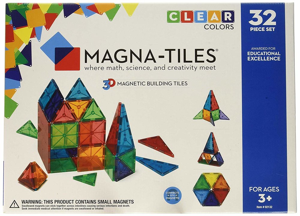 Magna Tiles - For a while, I didn't know what the fuss was with these things. They seemed really expensive and I didn't know why they were such a coveted item. We still do not have a set but we have a few freinds that do and Eden is drawn to them like.. a magnet! Ha! I have witnessed the draw that they have on kids, this is one of those extremely versatile toys that is good from ages 1-100! One of the only plastic toys I recommend.