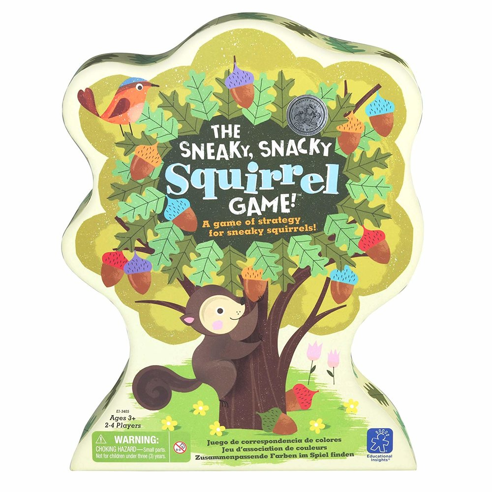 Sneaky Snacky Squirrel game - A strategy game for kids as young as 3 - so much fun! Even incorporates fine motor skills development with the squirrel tongs that you have to pick up the acorns with.