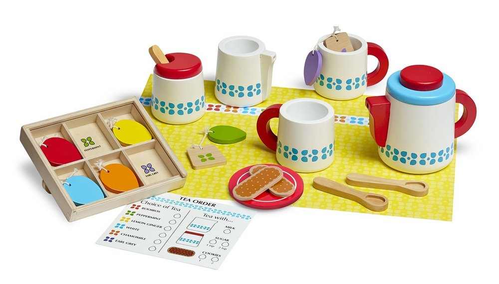 Wooden play tea set - Anything wooden deserves some consideration for your play shelf, how sweet is this pretend tea set?