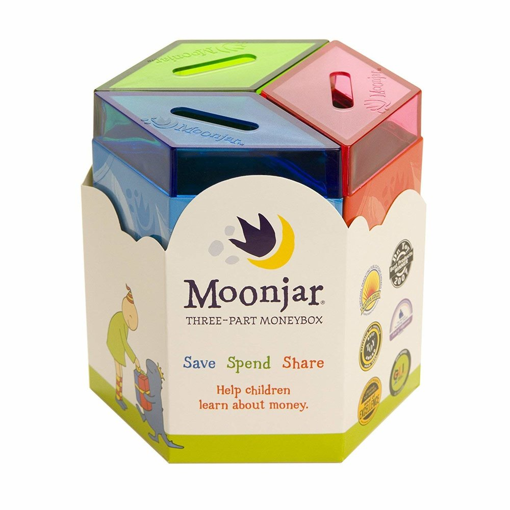Moonjar money bank - I love this concept. award winner! This durable tin moneybox is a timeless gift that will inspire and teach children to save spend and share wisely for a lifetime.