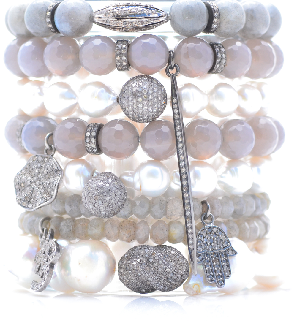 Gray agate, labradorite and white baroque pearl bracelets set with diamond charms.