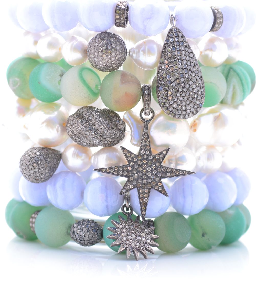 Blue lace agate, emerald druzy and white baroque pearl bracelets set with diamond charms.