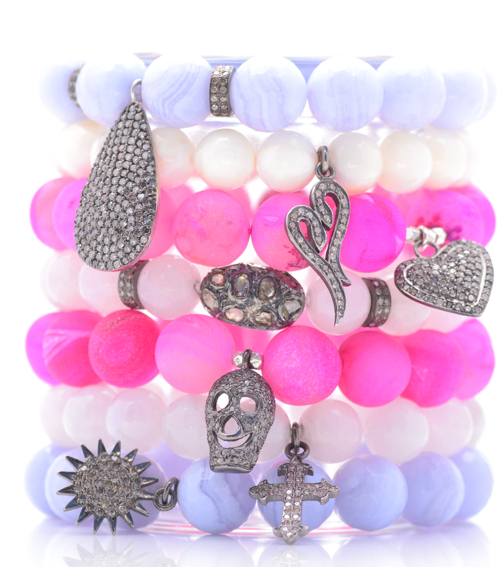 Hot pink druzy, moonstone, blue lace agate and white baroque pearl bracelets set with diamonds,