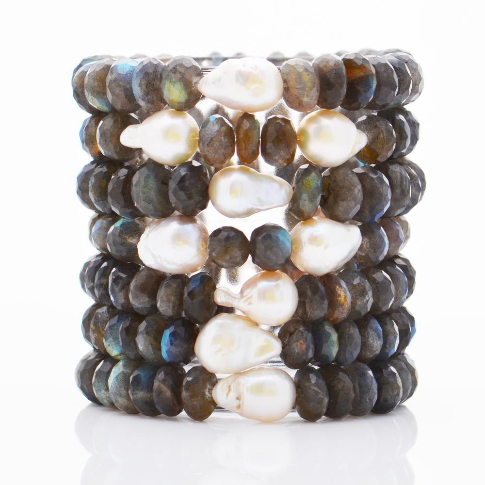 Labradorite & white baroque pearl bracelets.