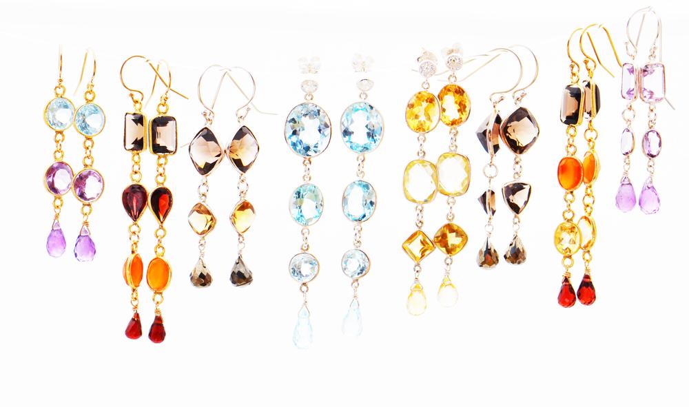 Gemstone drop earrings set in sterling silver or vermeil with gemstone briolettes.
