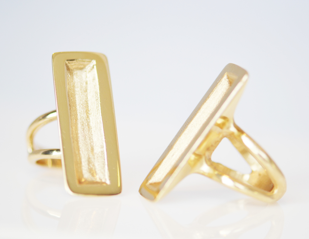 Hip To Be Square in solid 14-karat gold. Also available in sterling silver and 18-karat gold.