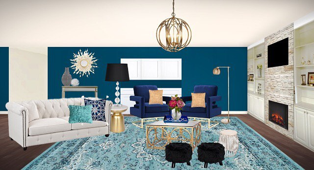 I'm upping my game in the edesign world and have been learning how to create 3D renderings! This is a fun contemporary glam living room I've been working on. It reminds me a bit of Hollywood's Golden Age. . . . .#edesign #jessicaharrisinteriors #livingroom #glitzandglam #glamour #contemporarydecor #rendering #lovedesign #interiordesign #interiordesigner #homestyling #instagood #instadesign #instastyle #colorpop #designing