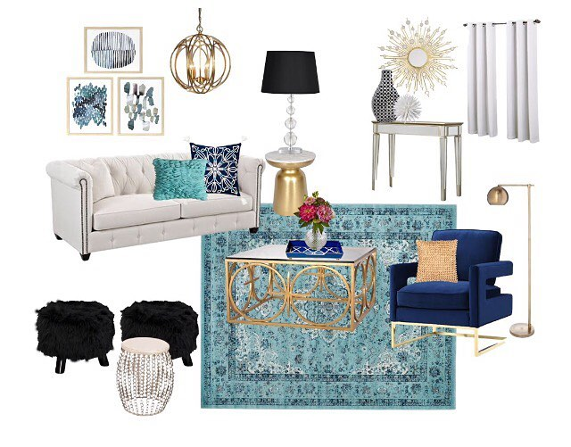 Remember my 3D Rendering I shared with you a few days ago? Well this is the content board that went along with it. I love how it turned out! Blue, White, Black, and Contemporary Glam! . . . . #edesign #jessicaharrisinteriors #interiordesign #interiordesigner #moodboard #contentboard #contemporaryglam #gold #modernglam #instastyle #styleinspo #homedecor #homestyling #interior123