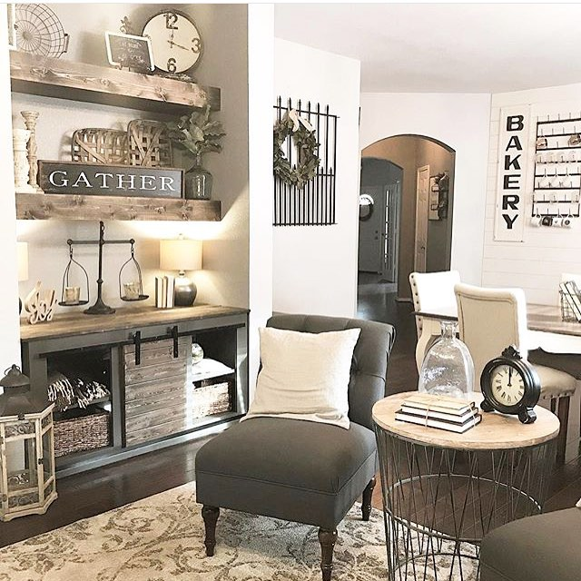 As a designer there are so many design styles that I love, maybe it's because I can see the beauty and details that went into it. But, my heart still beats a little faster when a see a beautiful farmhouse inspired room! Maybe it goes back to my 🌿ROOTS 🌿of being a farmers daughter and also the privilege of being a farmers wife🌾So when I saw this room from @homesweethappy I had an instant crush on this space!! I love the open shelves, the cabinet below, and that metal side table. . . . . #homeinspo #roominspo #designcrush #designinspiration #livingroom #farmhousestyle #farmhouseinspired #modernfarmhouse #farmersdaughter #farmerswife