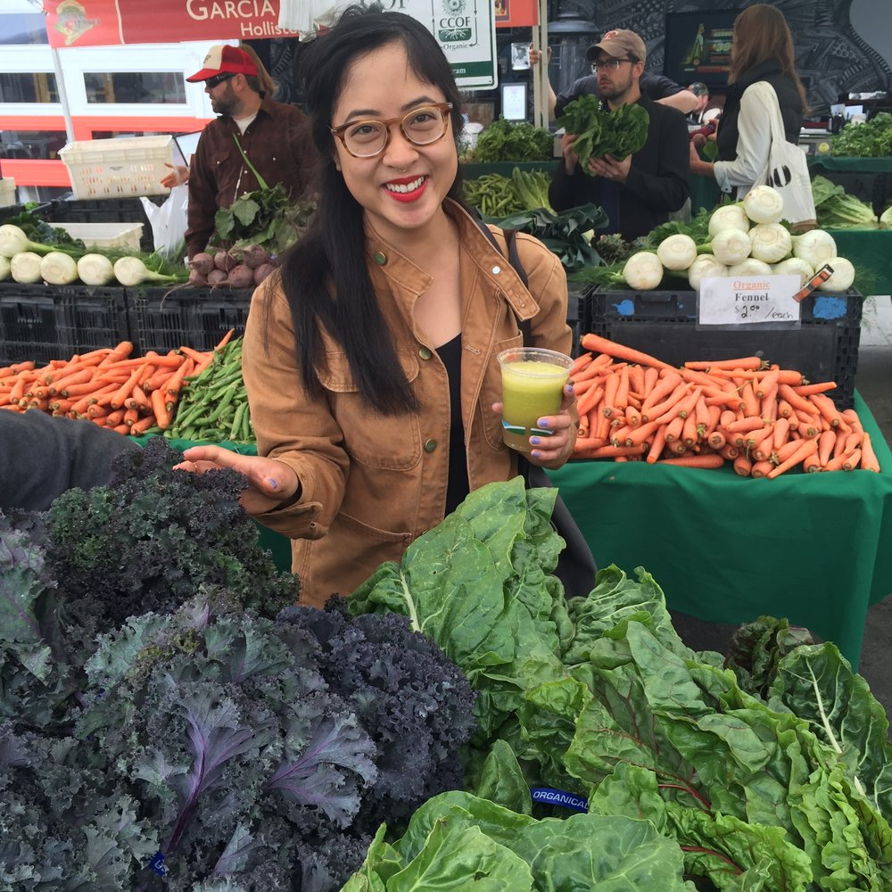 Supporting local farmers at Divisadero Farmer's Market (San Francisco, CA).