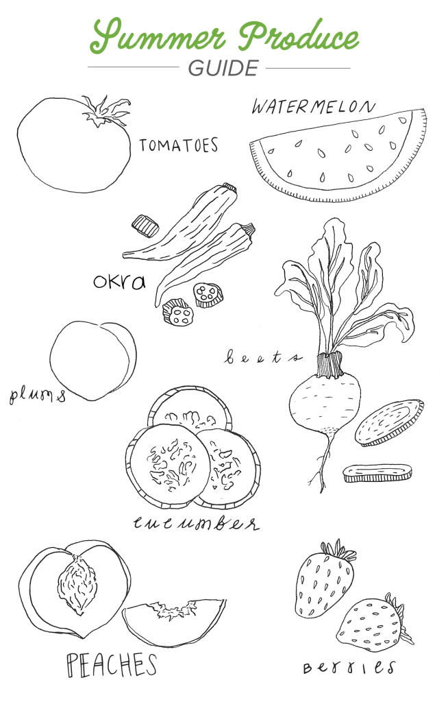Summer produce coloring page for Shipt's blog and family events