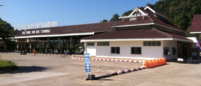 Mae Hong Son bus station for vans minivans minibuses and buses to Chiang Mai and Mae Hong Son