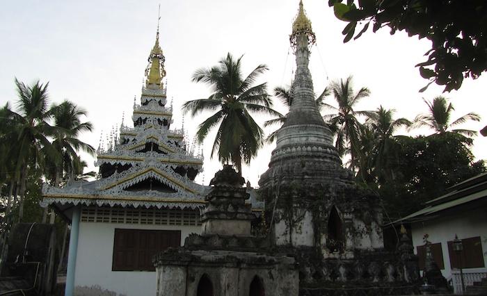 Mae Hong Son, Thailand - Old and new stupas at Wat Chong Klang