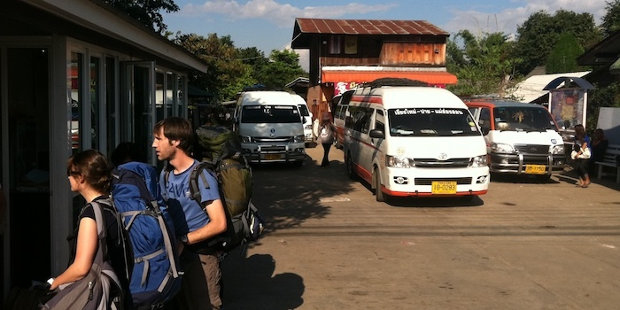 Pai bus station for vans minivans minibuses and buses to Chiang Mai and Mae Hong Son