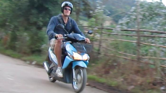 Pai, Thailand - Rocking the motorbike.