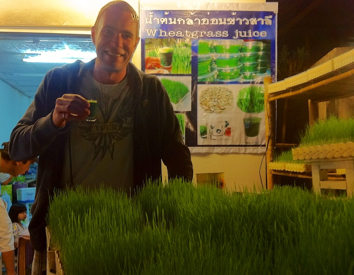 Pai, Thailand - Trying some wheat grass juice at the night market