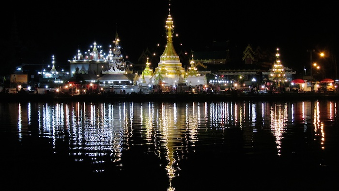 Mae Hong Son, Thailand - Wat Chong Kham at night