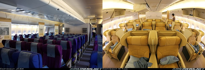 Singapore Airlines Economy vs Business Class (from Airliners.net)