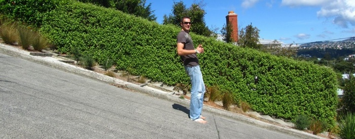 Trying to stay upright on the steepest street in the world