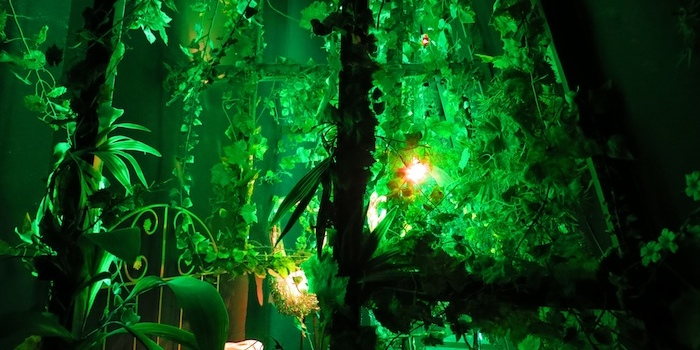 Illuminated green things...