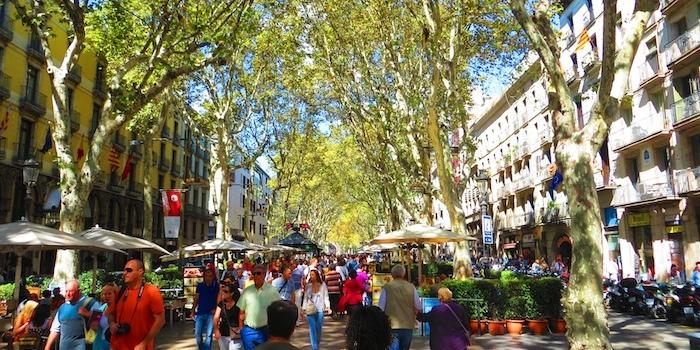 Overcrowded La Ramblas