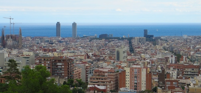 The city from Park Güell with Sagrada Familia on the left