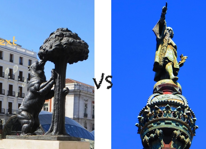 Madrid's city symbol and Cristóbal Colón statue near Barcelona's port