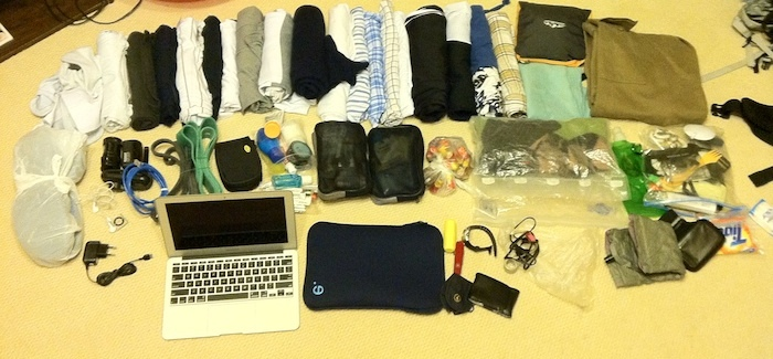The contents of my backpack at the beginning of my round-the-world trip