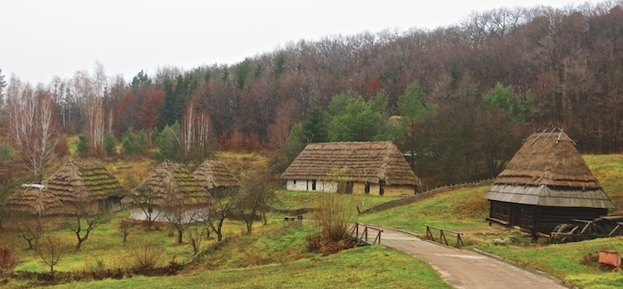 Karpaty region hatas with tall, steep roofs