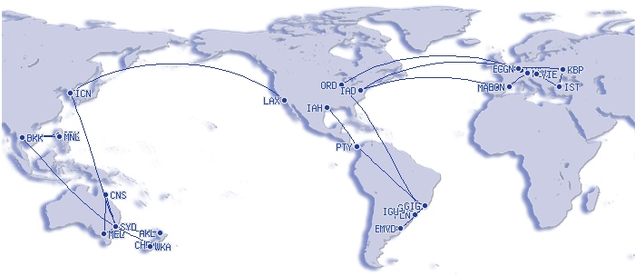 International flying in 2012 (my FlightMemory)
