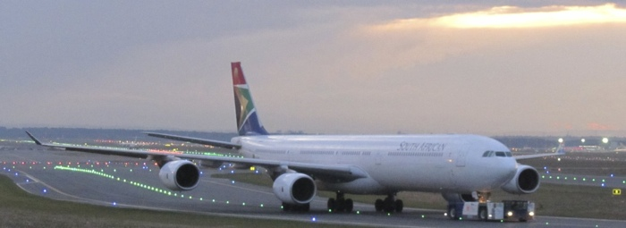 South African A340-600 in Frankfurt before my flight to, well, South Africa