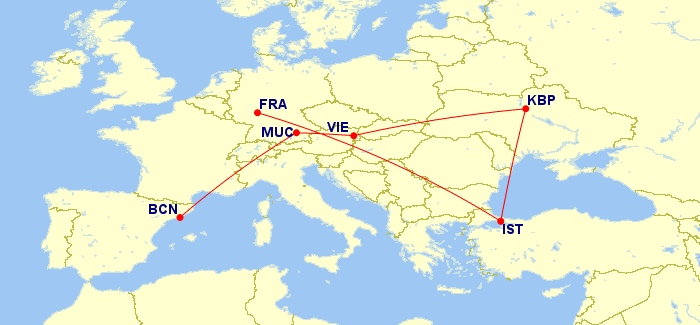 Barcelona - Munich - Vienna - Kiev - Istanbul - Frankfurt