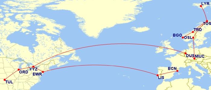 Tulsa - Chicago - Toronto - Dusseldorf - Munich - Oslo - Tromso - Longyearbyen - Tromso - Trondheim - Bergen, Barcelona - Lisbon - Newark - Toronto, Toronto - Chicago -Tulsa
