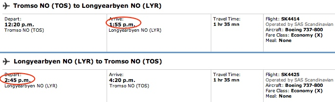 SAS flights to and from Longyearbyen