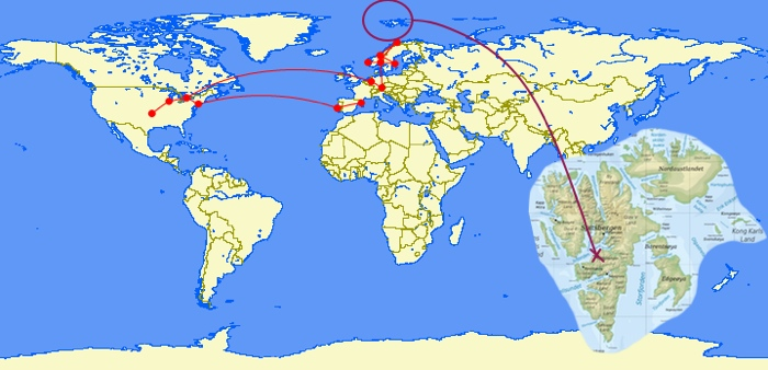 Svalbard Archipelago and Longyearbyen in relation to my European flight itinerary